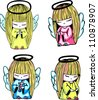 Little angel girls praying. Set of color vector illustrations. - stock vector