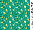 Little birds among flowers and leafs on dark green background. Seamless pattern. - stock vector
