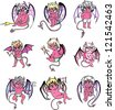Little devil cartoons. Set of color vector illustrations. - stock photo