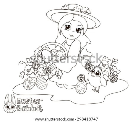 Little Girl Holding A Basket Of Easter Eggs Coloring Book