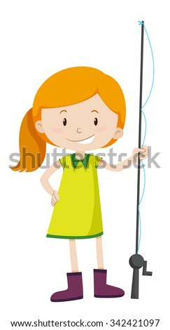 Little boy kid blowing dandelion make stock vector for Little girl fishing pole