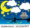 Little moon and owl - stock vector