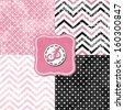 little polka dots and chevron black white pink gray geometric crackle backgrounds set with vintage frames - stock photo