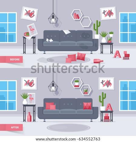 Mid Century Furniture Flat Modern Icons Stock Vector
