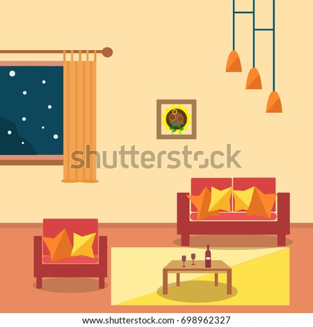 Living Room Interior Design With Furniture Sofachandelier TV Window Flowerpot
