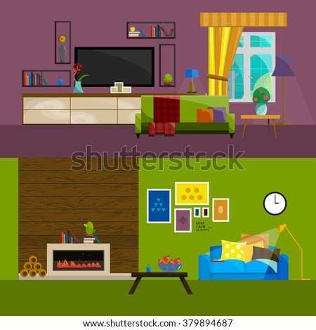 living room interior line furniture isolated icons for home design vector, sketich illustration of table chair sofa lamp office concept