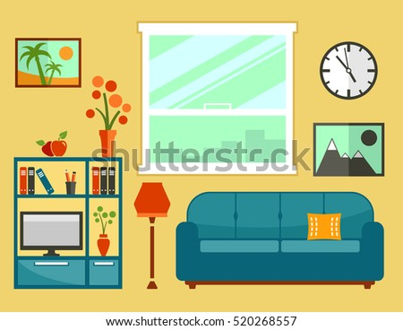 living room interior with flat furniture. apartment room interior furniture set for cozy furnishing home illustration.