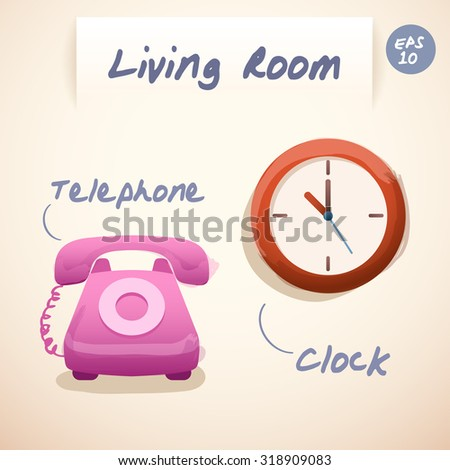 Living Room Stuffs : Telephone and Clock : Vector Illustration