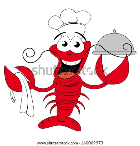 Lobster Chef Holding Plate Funny Vector Stock Vector ...