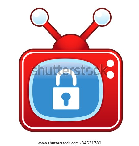 Lock or security icon on retro television set