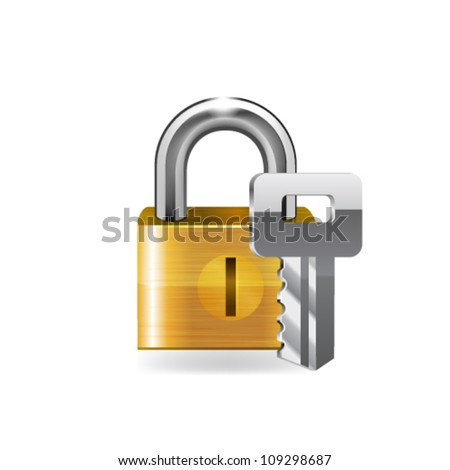 Lock with key. Vector