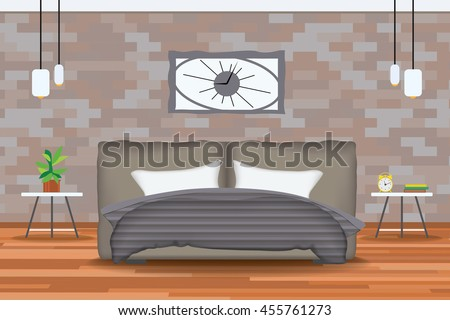 Loft Style Interior Design Vector IllustrationBed In Front Of Brick Wall With Side Tables