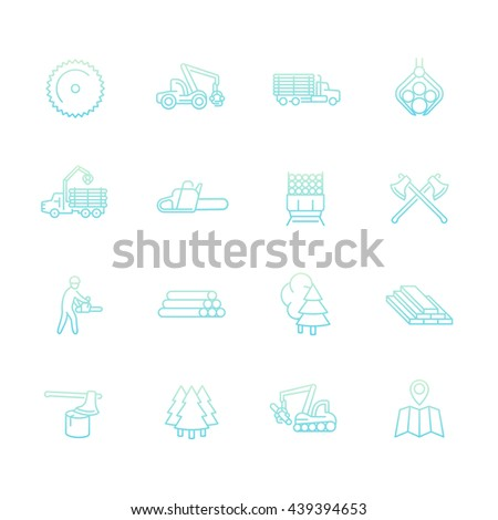 Logging line icons set, sawmill, forestry equipment, logging truck, tree harvester, timber, wood, lumber, vector illustration
