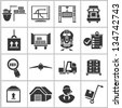 logistic management and shipping icons set - stock photo