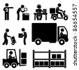Logistic Warehouse Delivery Shipping People Icon Sign Symbol Pictogram - stock