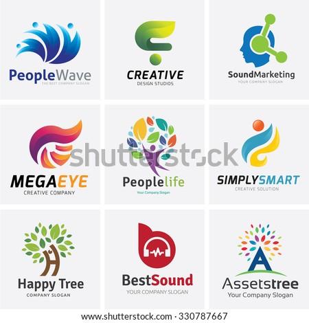 tree logo setpeople logo setfamily logo stock vector