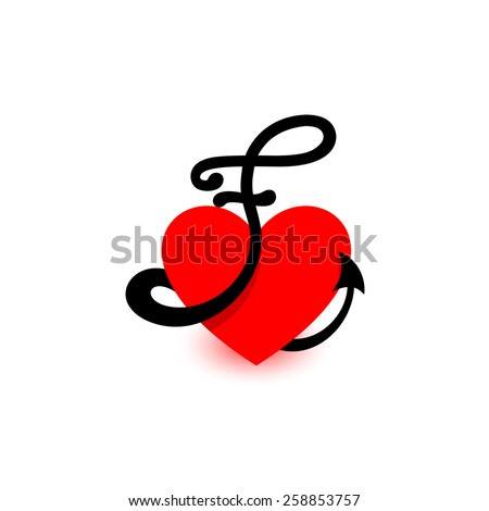 logo heart letter fbeautiful vector love logo the symbol of the union