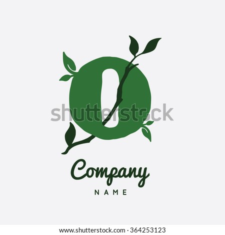 Logo O Letter Name Company. Stylish and modern logo for business. Vector illustration. Leaf