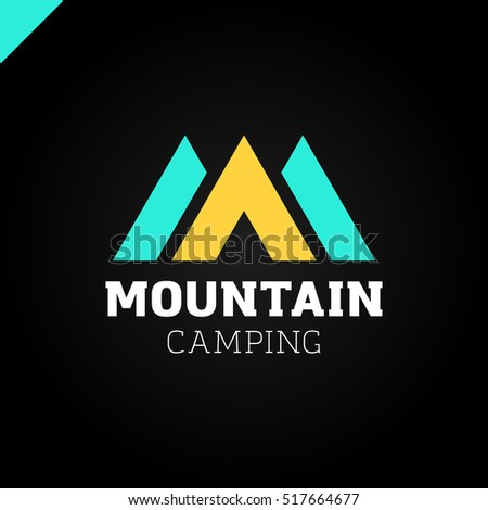 line mountain letter m logo fashion stock vector 391847110