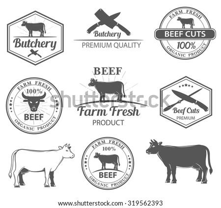 vector set premium beef labels badges stock vector