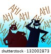 LOL: Two Men Laughing Out Loud - stock vector