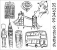 London doodle set - stock vector