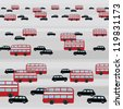 London Traffic: Buses and Cabs Streetview - stock photo