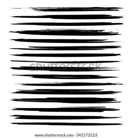 Long abstract thin black smears isolated on white background