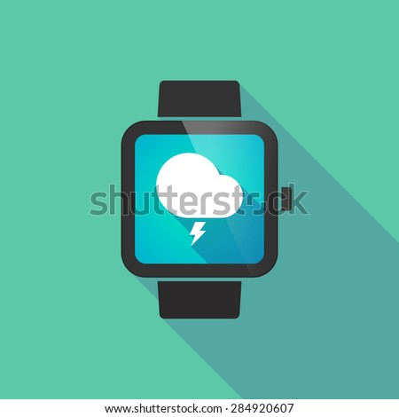 Long shadow smart watch with a stormy cloud