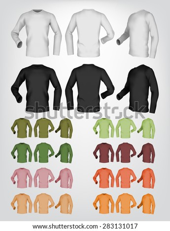 Long sleeve blank t-shirt template. Front, rear and side view.