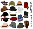 Lots of Mens Hats Set 01 - stock vector