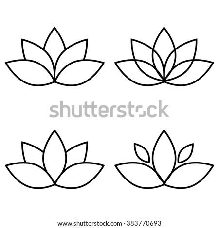 Four Lotus Silhouettes Design Vector Stock Vector
