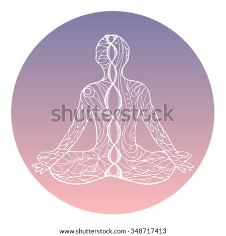 chakras concept silhouette lotus position over stock