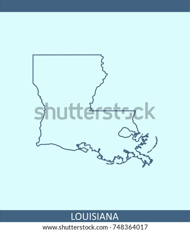 Louisiana State Usa Map Vector Outline Stock Vector - Us map vector outline