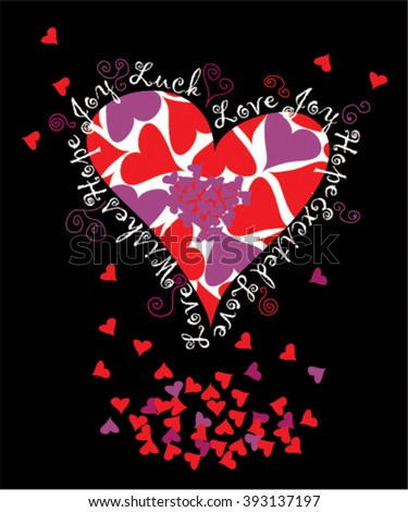Love and heart vector illustrations with the words messages for Valentine's day