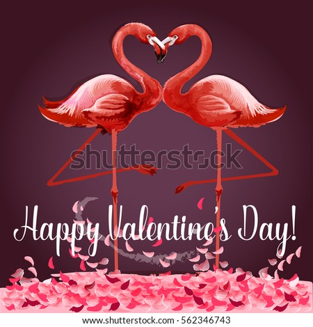 Valentine Day Greeting Card Flamingo Love Vector 562361047 – Valentine Card for Lover