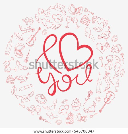 Love design in a circle of icons for Valentine's day. Vector illustration