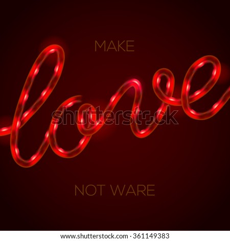 Love - glowing neon light sign, vector illustration.