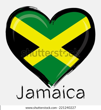 love grunge of Jamaica flag