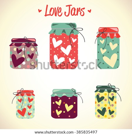 Love hearts mason jars, thanks card, valentine day, mother day, red, collection, vector