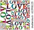 Love in grid multicolour vector - stock vector