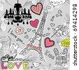 LOVE in Paris doodles - stock vector