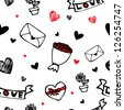Love letter , hearts and flower cartoon drawing seamless pattern background for valentine day - stock