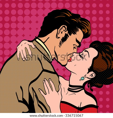 Love story lovers kissing man kisses a woman retro style pop art