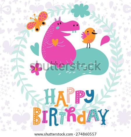 Cute Childish Card Crocodile Monkey Giraffe Stock Vector - Birthday invitation background vector