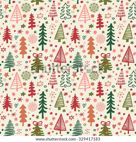 Lovely Christmas and New Year concept seamless pattern for winter holidays ornaments in bright colors. Stylish winter natural background in vector. Fir trees in stars and snowflakes