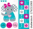 lovely cute elephant baby vector illustration - stock vector