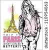 Lovely girl in sketch-style on a eiffel tower background. Vector illustration - stock vector