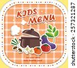lovely kids menu design in cartoon style - stock vector