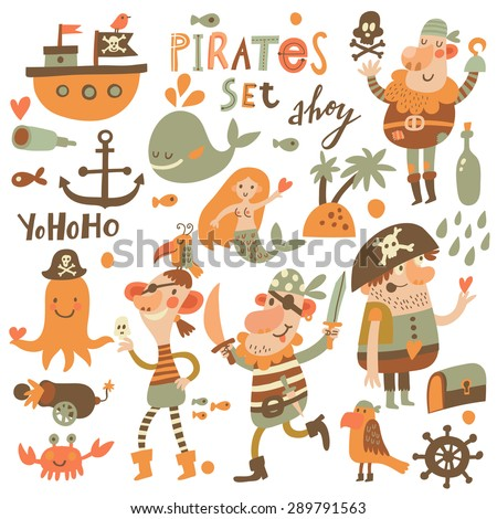 Lovely pirate set in cartoon style. Sweet card with pirates, ship, whale, crab, octopus, mermaid, rum, anchor, treasure, fish, island and parrot. Awesome background in bright colors